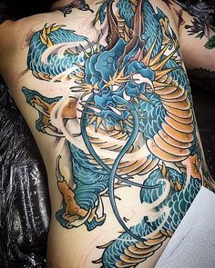 Amsterdam TATTOO 1825 By KIMIHITO In progress tattoo work Back piece dragon