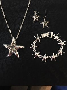 Sterling Silver Star Fish With Green Abalone Stones Necklace, Beveled Bracelet, And Earring Set for Sale in Nokomis, FL - OfferUp Sea Jewelry, Jewelry Accessories, Unique Jewelry, Starfish Necklace, Silver Stars, Stone Necklace, Earring Set, Sterling Silver, Venice