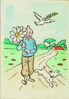 Hergé : « Tintin portant un bouquet de marguerites, Milou et la colombe de la Paix. » Projet pour une carte postale à l'encre de Chine et couleurs à l'aquarelle. 1943.