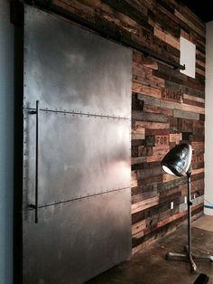 Industrial sliding metal barn door with hardware by navarroriver boys room Industrial Door, Industrial Interior Design, Industrial Living, Industrial Interiors, Industrial Style, Industrial Furniture, Industrial Closet, Industrial Bathroom, Industrial Shelving