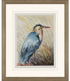 The Paragon Decor Big Blue Framed Wall Art boasts a vibrant giclee of a handsome blue heron presented in incredible detail. This seaside-inspired wall. Framed Wall Art, Wall Art Prints, Wall Art Pictures, Furniture For Small Spaces, Fine Art Paper, Canvas Art, Artist, Blue, Decor