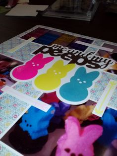 """Love this cut!  I made it my own by """"sugaring"""" the Peeps! ;) JulieChats: Layout of the Week - Me & My Peeps"""