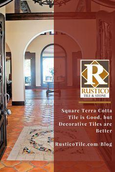 Square Terra Cotta Tile is Good but Decorative Tiles are Better - Rustico Tile & Stone Tile Flooring, Vinyl Flooring, Tiled Hallway, Farmhouse Flooring, Tiles Texture, Floor Colors, Floor Decor, Decorative Tile, Floor Design