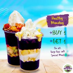 Now it's your time to get healthy! Go to an AçaiXpress Store, buy one delightful large Açai Soft Special Meals and won another for free.      You can't miss that! Available only in the Mondays.