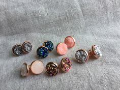 Rose gold Druzy earrings, Faux Druzy stud earrings, Druzy stud earrings, Boho Jewelry, rose gold druzy earrings by Sheilasattic on Etsy https://www.etsy.com/listing/271351622/rose-gold-druzy-earrings-faux-druzy-stud
