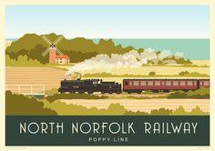 NORFOLK. Modern railway poster of The North Norfolk Railway passing Weybourne Windmill. 16