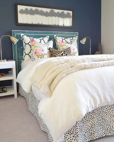Upholstered headboard, Dalmatian print bed skirt @zdesignathome