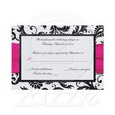 RSVP cards - $2.05 each Black, White, Fuchsia Damask Reply Card Invite from Zazzle.com