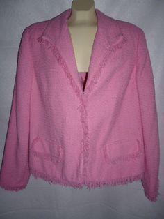Womens SAG HARBOR Pink Blazer Jacket Fringe Lined Eye Hook Closure Sz 18 #SagHarbor #Blazer