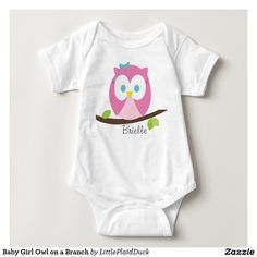 Baby Girl Owl on a Branch Infant Creeper