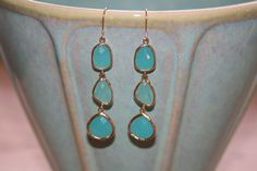 Triple Mint Green Stone Dangles by jKlausdesigns on Etsy
