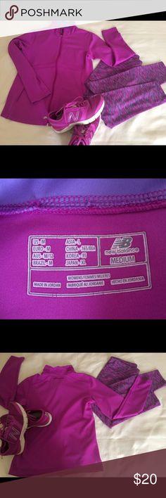 "New Balance Jacket New Balance full front zip up Performance Jacket. Lightning Dry.  2 Pockets. Magenta with violet inside collar. 18"" armpit to armpit. 24"" shoulder to hem. New Balance Jackets & Coats"