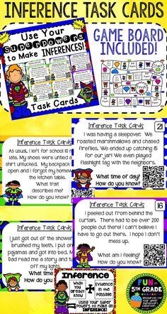 Practice inference with these self-checking QR code task cards!!  So many uses!  Use with or without included game board!  $