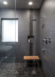 pebble tiles and small rock tiles in black recessed shelf wooden shower bench glass panel and - Recessed Panel Bathroom Decoration