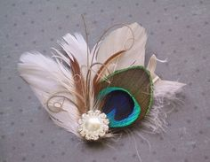 Peacock feather fascinator, Bridal Fascinator Hair Accessories, Peacock Feather Hair PIece, Wedding Hair Clip  - IVORY PEARLED PEACOCK