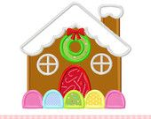 Gingerbread house Applique -4x4 5x7 6x10-Machine Embroidery Applique Design