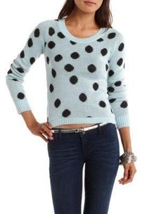 Charlotte Russe - Polka Dot Pullover Sweater - Light Turquoise Combo - XL
