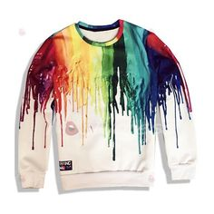 Fresh Style Rainbow Color Printed Pullover Sweatshirt For Women ($19) ❤ liked on Polyvore featuring tops, pullover tops and sweater pullover
