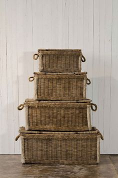 A Collection Of Mercantile Baskets - Old Straw Finish - Tabletop / Accents - Products - Products - Ralph Lauren Home French Baskets, Old Baskets, Vintage Baskets, Wicker Baskets, Sisal, Wicker Trunk, Natural Weave, Shabby, Interior Plants