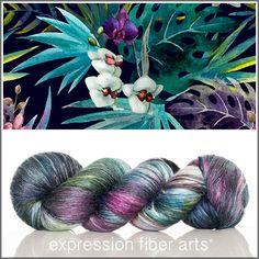 TROPICS - superwash merino silk pearlescent fingering yarn by Expression Fiber Arts