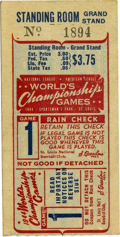 1944 World Series Game 1 Ticket Stub.