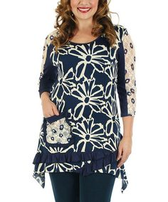 Another great find on #zulily! Blue & White Floral Sidetail Tunic - Plus by Aster #zulilyfinds