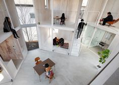 "There are barely any partitions between the rooms of this family house in Chiba Prefecture, Japan, which was designed as an open container that ""changes as you design and live in it"""