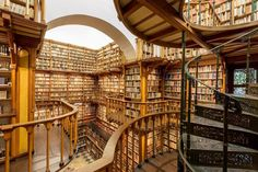 Interior view of the library at Maria Laach abbey, Eifel, Rhineland-Palatinate, Germany Dream Library, Library Books, Beautiful Library, Santa Maria, Medieval, Old Libraries, Bookstores, Cool Books, Big Books