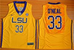 LSU Tigers #33 Shaquille O'Neal Gold Basketball Stitched NCAA Jersey