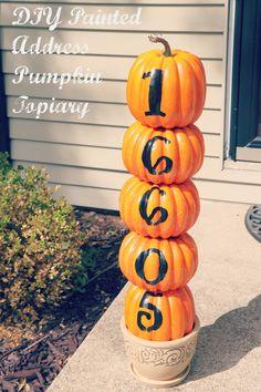 Painted Address Pumpkin Topiary