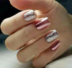 pink glitter Acrylic short square nails design for summer nails, Short square nails color ideas, Natural gel short square nails design, Pretty and cute acrylic nails design Nail ShortNails AcrylicNails SquareNails - Cute Acrylic Nails, Acrylic Nail Designs, Nail Art Designs, Nails Design, Metallic Nails, Glitter Gel, Nail Art With Glitter, Nail Glitter Design, Rose Gold Glitter Nails