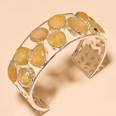 GOLDEN RUTILE EXCLUSIVE GIFTED - 925 SILVER BANGLE 7.40 #Handmade #Bangle