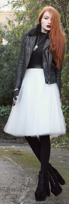 White Tulle Midi Skirt by Olivia Emily, love the pop of that skirt