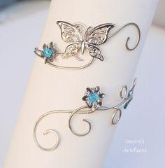 Butterfly wire wrapped upper arm cuff by IanirasArtifacts.deviantart.com on @deviantART
