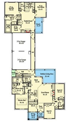 Two Homes in One Floor Master Suite CAD Available Corner Lot InLaw Suite Loft MediaGameHome Theater PDF Traditional Architectural Designs Family House Plans, New House Plans, Dream House Plans, House Floor Plans, Dog Trot House Plans, U Shaped House Plans, Modular Floor Plans, Duplex Floor Plans, Unique Floor Plans