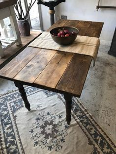Large rustic scaffold board top table with vintage turned legs base - solid wood Dinning Table Wood, Trestle Table, Rustic Table, Dining Room, Rustic Decor, Design Furniture, Vintage Furniture, Furniture Ideas, Rustic Kitchen Design