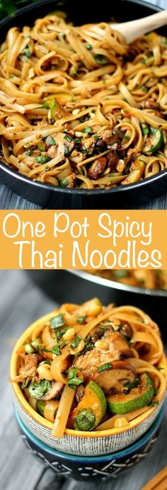 One Pot Spicy Thai Noodles are SO good and easy to cook up. This is a vegetarian recipe, but there are options for added protein too!