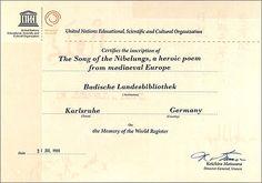 Weltdokumentenerbe 'Nibelungenlied' - Urkunde der UNESCO