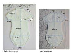 BODY DE LANA de 6-9 /12-18 meses Material Lana bebé color beige Agujas de punto del número 3,5 10 botones beiges pequeños. Punto...