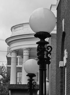 Lamp lights & Jeffersonian architecture - photo by Carol Greene