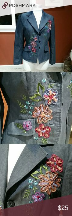 Adrianna Papell embroidered blazer In brand new condition, I never actually wore this. Cotton poly-blend blue blazer with gorgeous flower embroidery and embellished front design. 3 button front.* Adrianna Papell Jackets & Coats Blazers