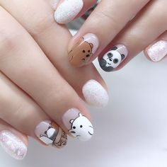 We Bare Bears nails Who wants to try this? We Bare Bears nails Who wants to try this? Stylish Nails, Trendy Nails, Cute Nails, Nail Swag, Nail Art Dessin, Panda Nail Art, Hair And Nails, My Nails, Cute Nail Art Designs