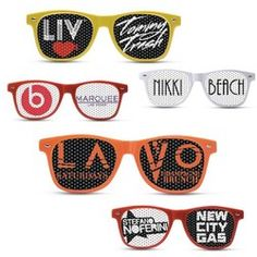 Promotional Sunglasses with Custom Pinhole Logo Lenses. As low as $1.73 each.  Promotional Products | Fun Giveaways