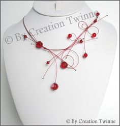 red, glass, loope, necklace, bridesmaids necklace, delicate necklace, nature jewelry, bridesmaids gifts, weddings jewelry by creationtwinne, $45.00