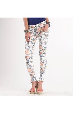 Bullhead Black Floral Skinny Jeans - $49.50