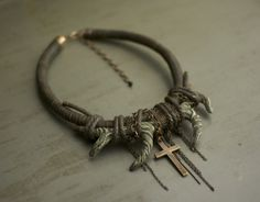 Necklace ||WILDHORN||... Leather, sprig of polymer clay, cross