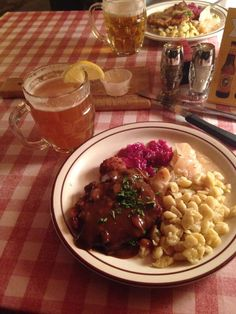 [i ate] schnitzel spatzel kraut and of course a beer