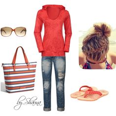 North Face hoodie for a crisp, cool outing at the beach, created by shauna-rogers on Polyvore