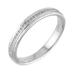 18ct white gold diamond wedding ring- Ernest Jones £625 An exquisite token of your love, crafted in 18ct white gold and set with an elegant row of channel set diamonds.  A feminine design and a timeless classic.  Birthstone     April Diamond     0.1 carat Material     18ct White Gold Stone setting     Channel Stone shape     Round Stone style     Multi stone Stone type     Diamond Width     0.3 cm      Normally available in sizes I to S