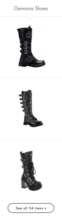 """Demonia Shoes"" by theonewithstarsinhereyes ❤ liked on Polyvore featuring shoes, boots, black combat shoes, combat boots, combat style boots, demonia footwear, demonia boots, ankle booties, demonia and gothic boots"